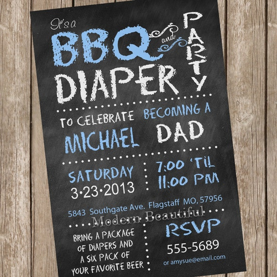 Chalkboard BBQ and diaper baby shower invitation, blue ...