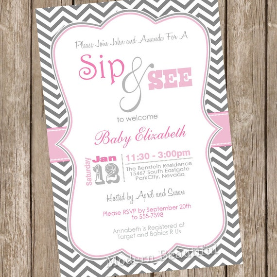 Girl Sip and See Baby Shower Invitation pink gray grey