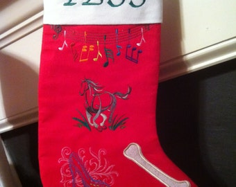 Whimsical custom designed and personalized stocking or gift bag