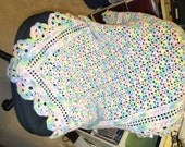 Hand Crocheted Scalloped Edge Sparkly Variegated 40 x 30 Soft Baby Blanket