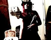 Steampunk Top Hat Vintage Steampunk Hat Persian n Brass Womans Top Hat , Steam Punk Pop Fedora Headpiece