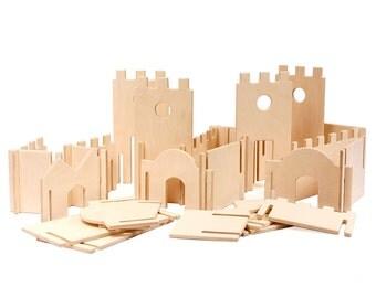 Modular Building Walls, Manzanita Kids Classic Deluxe, Wood Building Toy