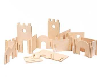 Wood Castle Building Blocks Playset // This Modular Natural Building Toy will Challenge Kids' Creativity // Interactive Eco Friendly Toy