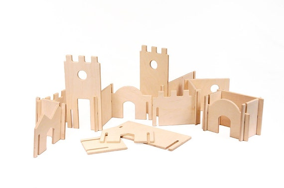 Wood Castle Kit // Natural Toy Castle Open Kids' Creativity //Montessori Castle DIY Dollhouse Wood Kit