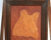 Vintage Folk Art: Engraved Leather Collie Portrait