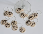 Black Damask Personalized Ceramic Wine Charms for Wedding Favors and Events
