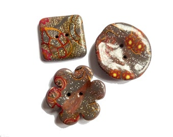 """Brown buttons, Set of 3 handmade polymer clay buttons - 1"""" square, 1""""1/4 round, 1""""1/4 flower - sewing supply - boutons, knitting sewing DIY"""