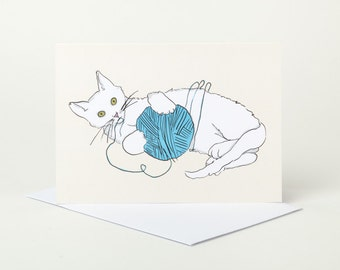 Playful Cat Birthday Card (cat card, blank cat card, cute cat card, cat playing with yarn, ball of wool, kitten card, white cat card)