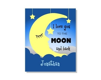 I Love You To The Moon and Back Blue Children Art Print 8x10  Nursery Decor