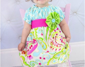 Perfect Peasant Dress: Girls Peasant Dress Pattern, Long Sleeve Peasant Dress Pattern