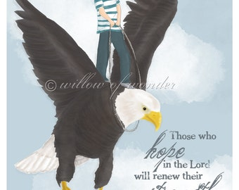 Scripture Art - Isaiah - On Eagle's Wings BOY - children's room print