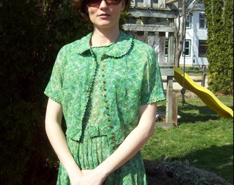 Vintage 1950s Summer Garden Dress With Matching Jacket and Belt Mad Men Fashion