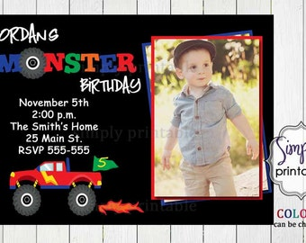 Printable Monster Truck Birthday Invitation with Photo