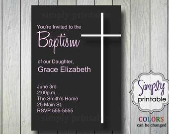 Girl Baptism Invitation Printable