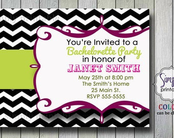 Chevron Bachelorette Party Invitation (Printable Digital)