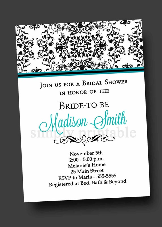 Damask Bridal Shower Invitation Blue (Digital File)