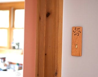 Wood Light Switch Plate - Sun Spiral