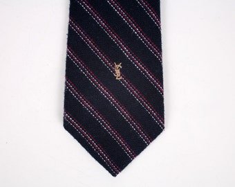 YSL Logo Striped Tie, YSL Vintage Designer Necktie with Logo in Gold