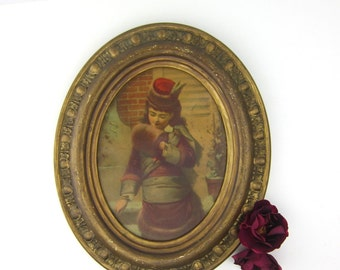 Girl in a Muff, Vintage Framed Oval Print, Ornate Gold Frame