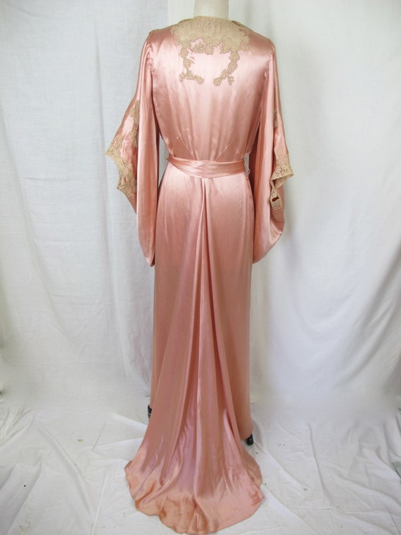 1930s Glamourous Silk Satin And Lace Night Gown Dressing Gown