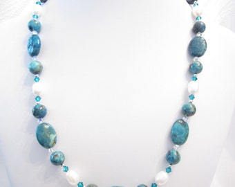 Necklace of  Blue (Dyed) Crazy Lace  Agate, White Freshwater Pearls, and Swarovski Crystal Accents, OOAK, Choker, Unique