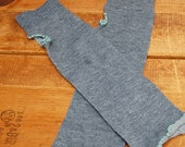 Heather Grey with Robins Egg Blue Stitch FINGERLESS GLOVES- Arm Warmers by The Accessories Nook