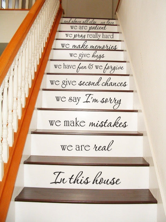 in this house stair case stairway art wall by villagevinepress. Black Bedroom Furniture Sets. Home Design Ideas