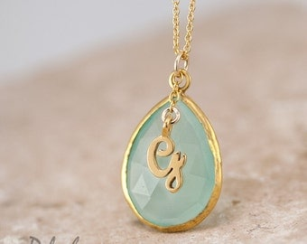 Custom Initial Necklace - Aqua Blue Chalcedony Necklace - Personalized Necklace - Script Letter Monogram Necklace - Personalized Jewelry