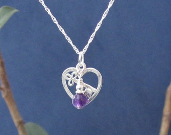 Purple Amethyst Stone Sterling Pendant Necklace Romantic Wedding Girlfriend Graduation Anniversary Gift for Wife, Daughter, Fiancé Heart Key