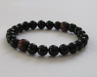 Black Obsidian Men Mala Beads Chakra Bracelet, Rosewood Men Wood Bracelet, Worry Beads, Protection Recovery Grounding Bracelet Gift for Him