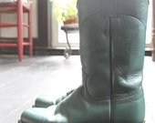 RESERVED for Barbara. Teal green Justin cowboy boots. Womens 7.5. Mens 5.5.