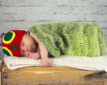 Crochet Very Hungry Caterpillar Hat and Cocoon Set - Newborn - Photography Prop - Hungry Little Caterpillar