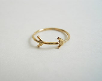 Hieroglyphics Arrow Ring 14k Gold Filled