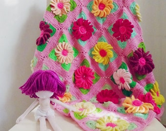 baby blanket pdf crochet pattern - Gerbera 3D Flower granny square - photo tutorial throw floral blanket -  Instant DOWNLOAD