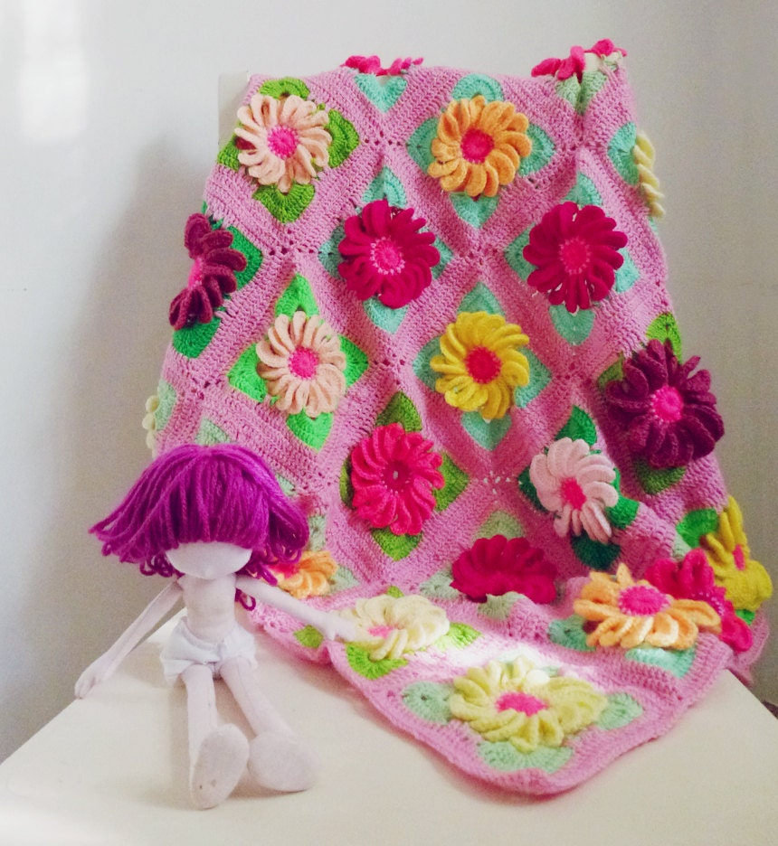 3d Flower Crochet Blanket Pattern Crochet Blanket Pattern