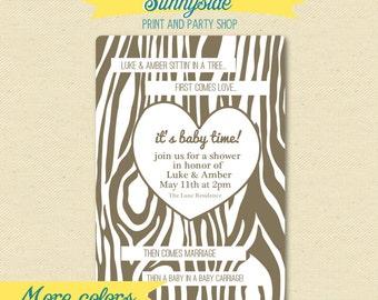 Love Marriage Baby Shower Invitation - Printable Baby Shower Invite - Woodgrain