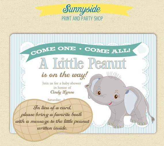 Baby Elephant Little Peanut Baby Shower Invitation Printable Invite In Blue