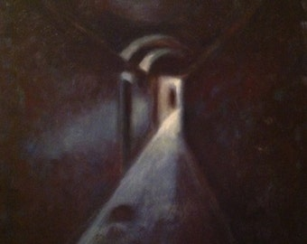 "Original Oil Painting on stretched canvas, 16""x20"", light at the end of the tunnel, darkness and lightness, narrow passageway, purple black"