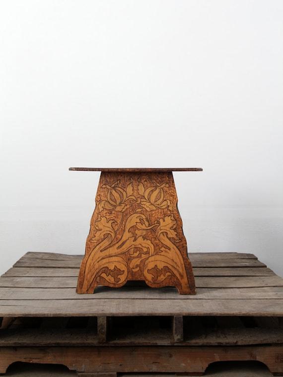 Antique Wood Table 1900s Pyrography Table Art Nouveau