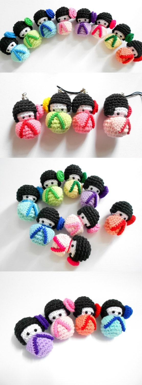 Amigurumi Penguin Cell Phone Strap : Amigurumi Kokeshi crochet doll Bag charm Phone charm Pink