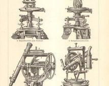 1897 Original Antique Engraving of Theodolite Instruments, Astrolabe, Breithaupt Theodolite, Tesdorpf Theodolite, Astronomical Theodolite