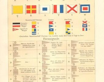 1895 International Maritime Signal Flags, 19th Century Antique Lithograph