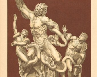1904 Antique Chromolithograph of the Statue of Laocoön and His Sons