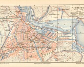 1902 Original Antique City Map of Amsterdam