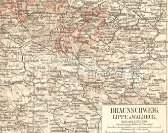 1903 Antique Dated Map of the Duchy of Brunswick, Lippe and Waldeck, German Empire