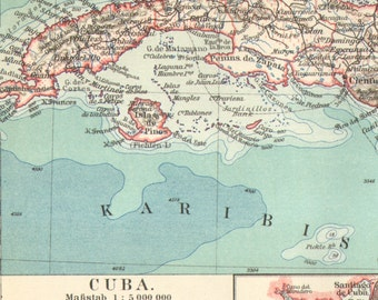 1902 Original Antique Map of Cuba, Jamaica and Puerto Rico