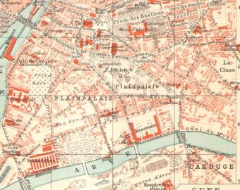 1903 Original Antique City Map of Geneva, Switzerland
