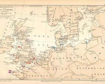 1897 Original Antique Map of Naval Forces and Naval Bases on the North Sea and Baltic Sea