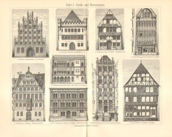 1906 Original Antique Engraving of Dwelling Houses, Gothic and Renaissance Style