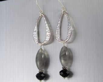 Black and Grey Dangle Earrings - Silver Quartz Earrings - Silver Oblong Hoop Earrings - Silver Quartz & Black Crystals  - Elegant Earrings